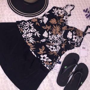 🏝Jantzen 2pc Floral Tankini Top Skirted Swimsuit